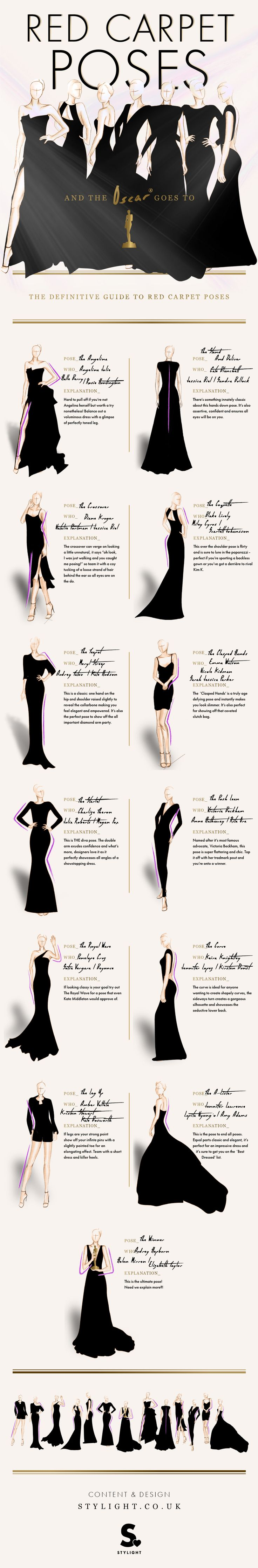 Red Carpet Poses - The definitive guide - Learn how your favourite celebrities pose perfectly on the red carpet #infographic...x
