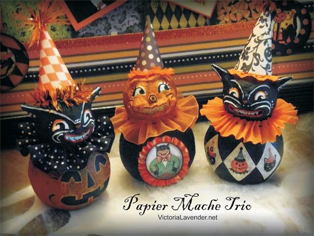 halloween paper mache trio