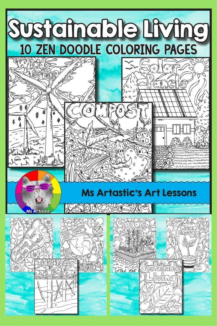 Earth Day Coloring Pages, Sustainable Living Zen Doodles ...