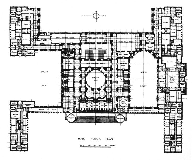 Plan of Lutyens' Viceroy House, New Delhi (one day, one