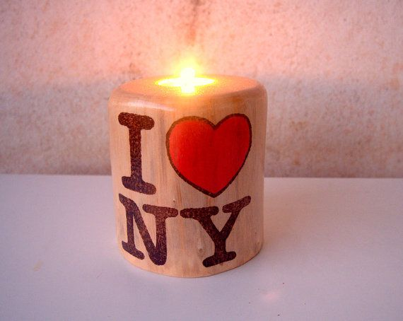 New  Wood Stump Candle Holder  I Love NY by forestinspiration