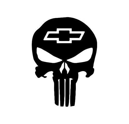 Chevy Punisher Skull Decal (