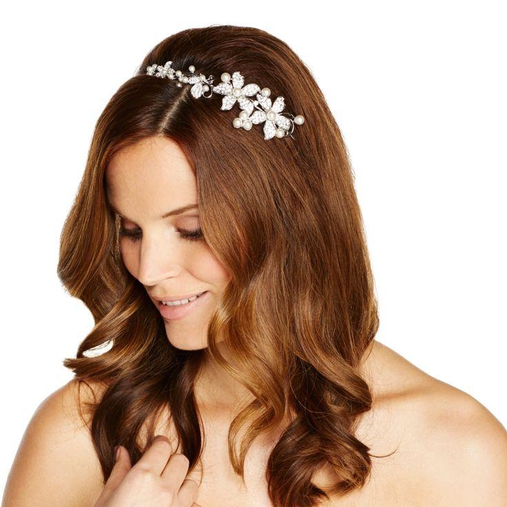 Jon Richard Graduated Pearl And Crystal Embellished Flower Headband