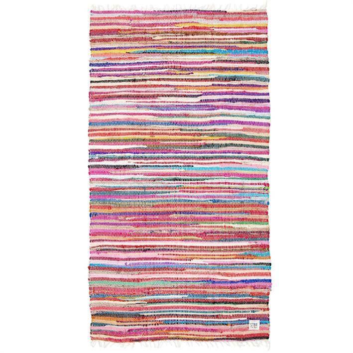Vloerkleed van Storebror van verschillende kleuren stroken katoen.DE kleuren varieren per tapijt. Prachtig hoor!