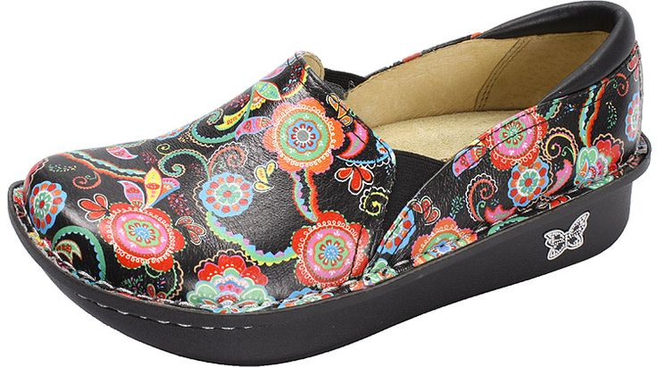 """Debra Paisley Party by Alegria!  The Alegria Debra is designed specifically for health care workers and features a stain resistant upper along with a non-slip bottom. Of course, it is built on the same stable, rocker outsole as the original """"Classic"""" model that is engineered to roll naturally, reducing heel and central metatarsal pressure."""