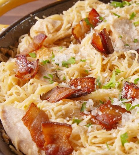Delicious Chicken Caesar Angel Hair Pasta - Recipe, Main Dish, Meal Ideas, Quick, Easy