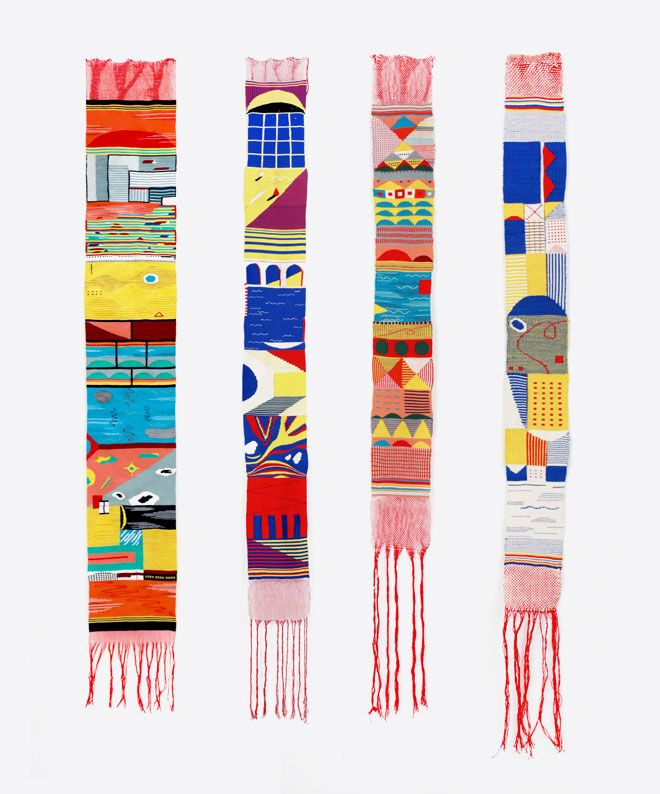 Narrow small tapestries by Hannah Waldron. Repinned by Elizabeth VanBuskirk. She is a weaver, designer and artist. On her detailed flickr site she discusses her process and design in general. Hang in there for the whole presentation. You'll probably find it well worth the look.