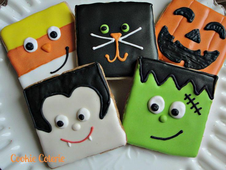 Halloween Cookies Frankenstein Vampire Candy Corn Black Cat Jack-O-Lantern Decorated Sugar Cookies. $19.00, via Etsy.