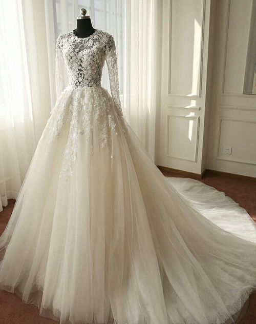 Beautiful Long Sleeves Wedding Dress, Ivory Tulle Lace