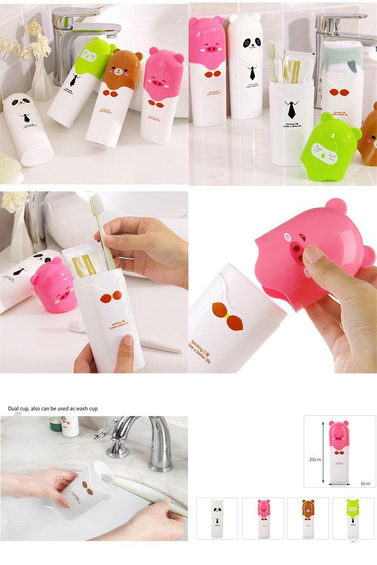 [Visit to Buy] 2in1 Cartoon Travel Toothbrush Storage Box Brush Teeth Cup Portable Plastic Tube Box Holder Health Bacteria Random Color #Advertisement