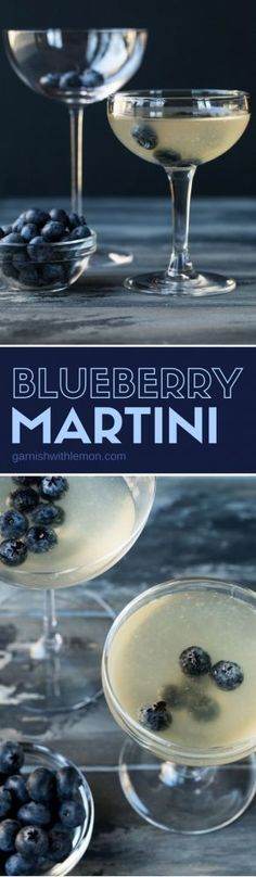 This Blueberry Martini recipe is the perfect balance of blueberry vodka, elderflower liqueur, and lime juice is nothing short of liquid gold in a glass. #martinis #elderflower #cocktails #blueberrymartini #happyhour #garnishwithlemon