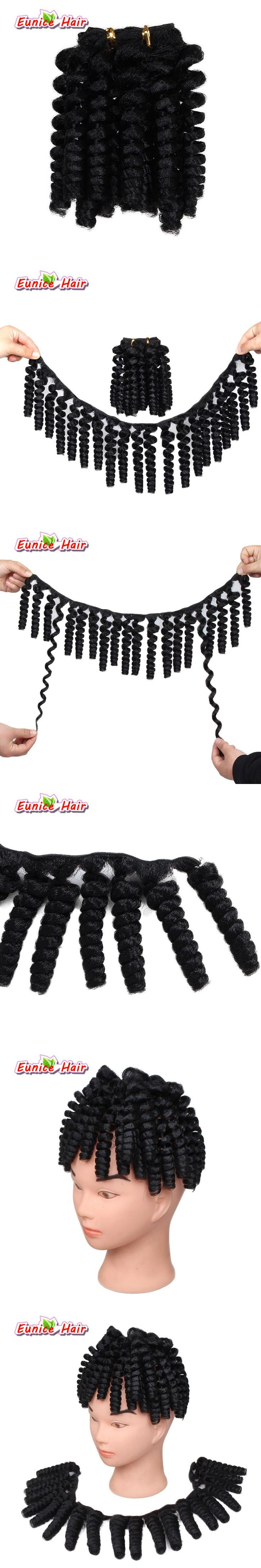 Pre-Curled Textured Synthetic Hair Weft 20inch Black Bouncy Curl Weft Synthetic Crochet Braids Hair Extensions 70g/pack