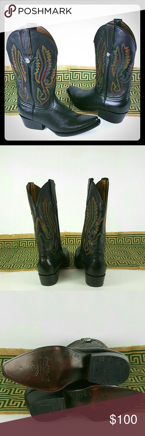 Montana Western boots, SZ 8, Never Worn Montana Western Boots Black Leather with Embroidered designs,  Size 8, New without box...Never Worn Montana  Shoes Ankle Boots & Booties