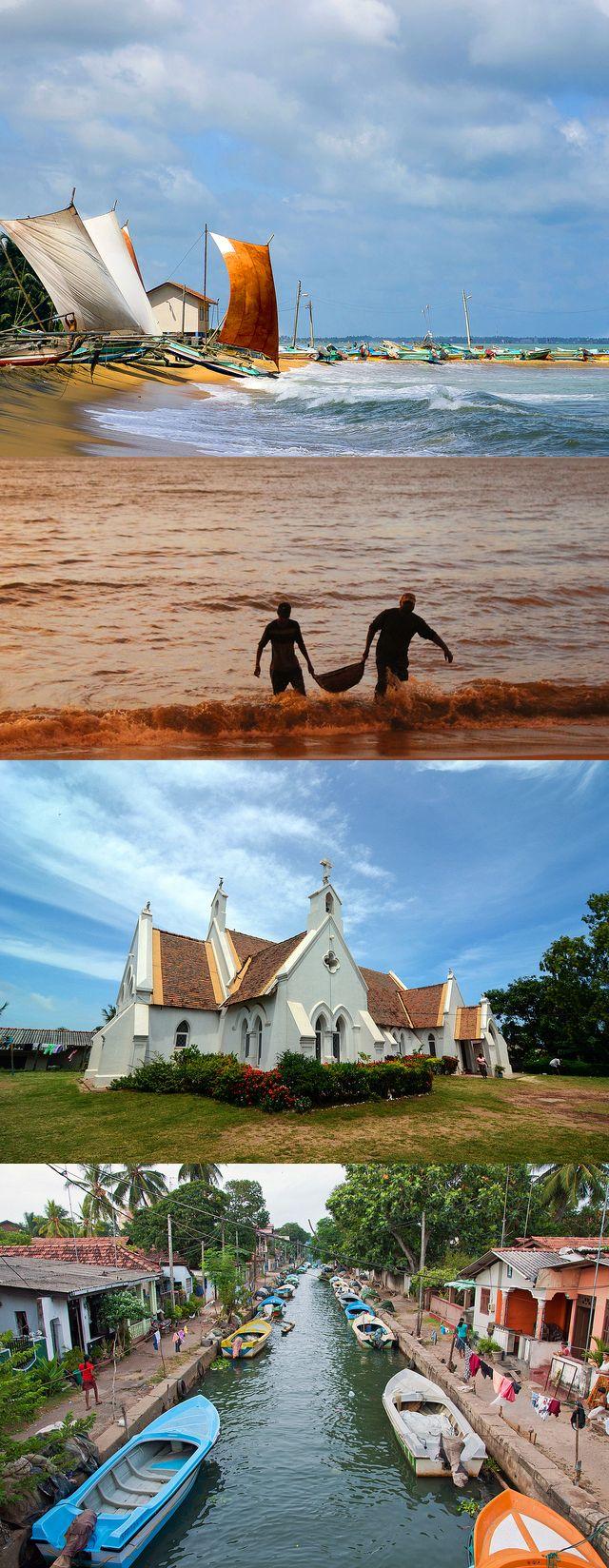Negombo, western coast of Sri Lanka #SriLanka #Negombo #Church #Boats #Beach #DutchChannel