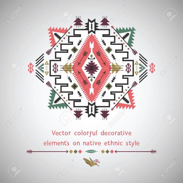 Vector Kleurrijke Elementen Op Inheemse Etnische Stijl Royalty Vrije Cliparts, Vectoren, En Stock Illustratie. Image 35078122.