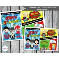 Superhero Party Personalised Invitation - Digital File