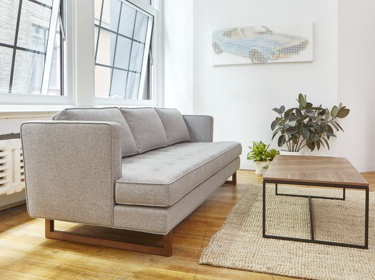 Gus Modern | The Aubrey Sofa embodies chic sophistication with piped edges, a button-tufted seat cushion and three luxurious back cushions. An angled back profile and a slim sled base give the Aubrey a clean, refined silhouette which evokes Scandinavian design influences.