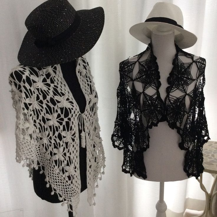 Black and White crochet lace shawl. The white one is a Butterfly Shawl