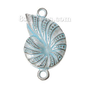 Wholesale - Connectors Findings Conch Snail Silver Tone Spray Painted Blue 27.0mm x 16.0mm, 30 PCs