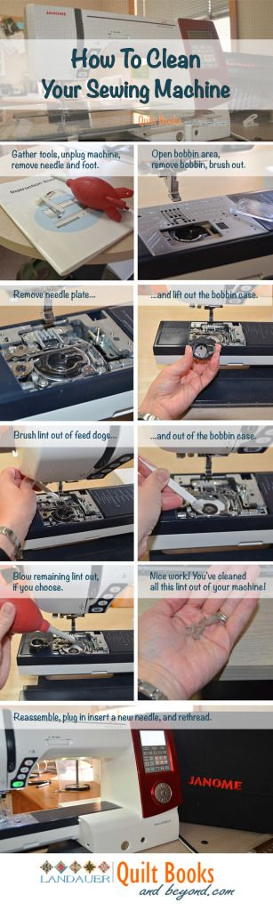 How To Clean Your Sewing Machine | http://quiltbooksandbeyond.com/clean-sewing-machine/