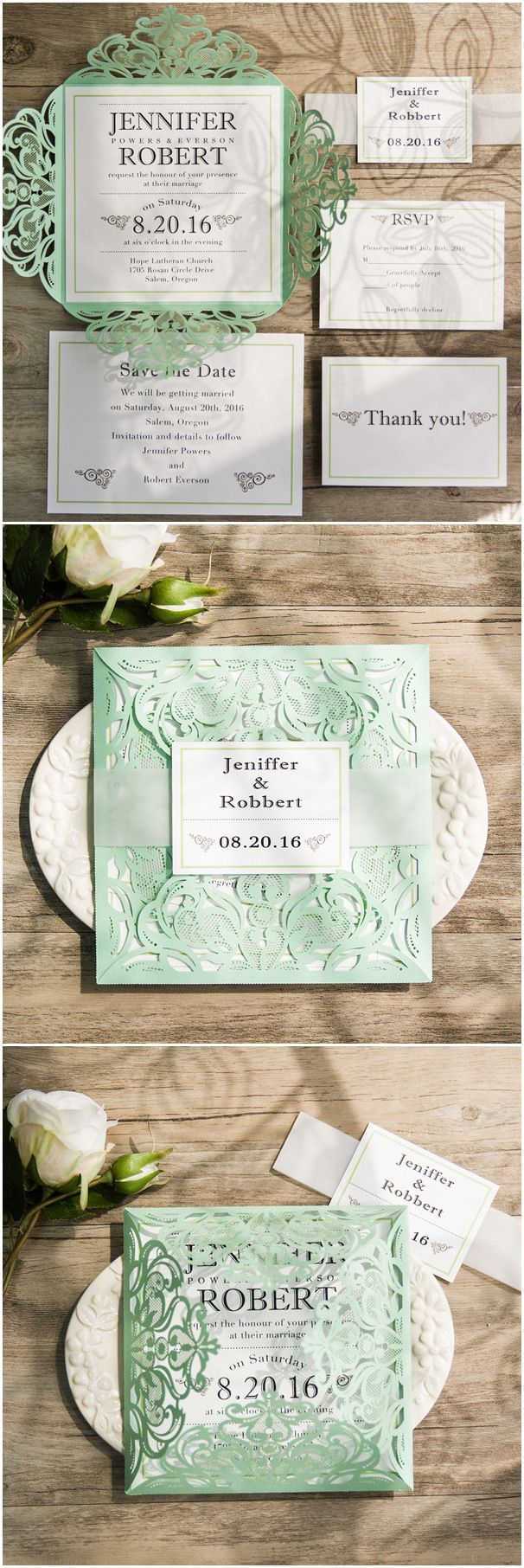 2016 trending mint green laser cut wedding invitations with free rsvp cards ewws111