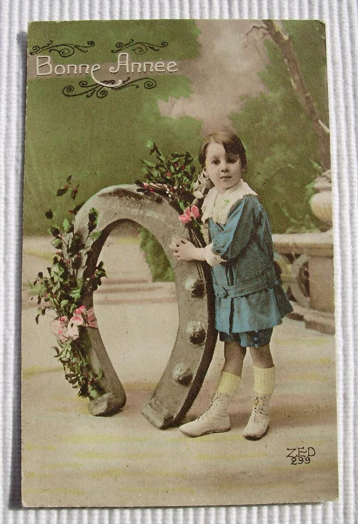 Vintage French Postcard Boy with Horseshoe Happy New Year /