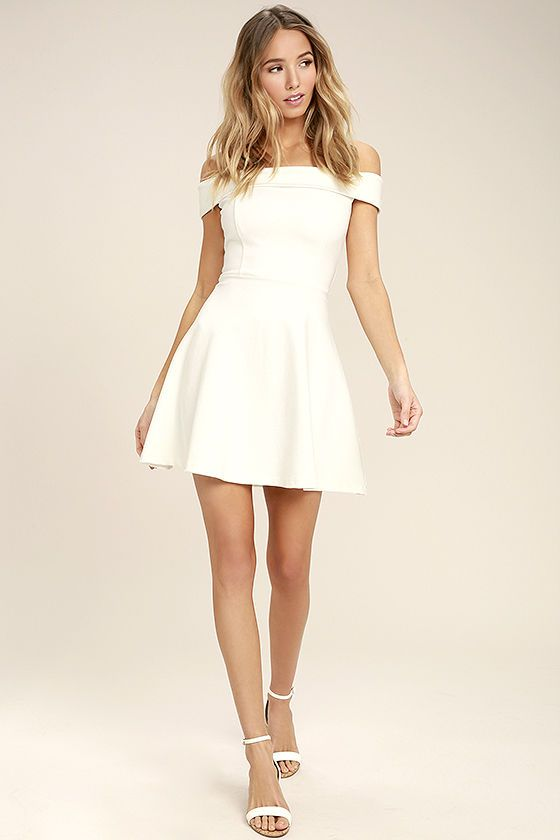 Lulus Exclusive! The Season of Fun White Off-the-Shoulder Skater Dress is always the perfect pick-me-up! Medium-weight stretch knit shapes an off-the-shoulder neckline (with no slip strip), and princess seamed bodice. A full skater skirt creates a fun fit and flare silhouette. Hidden back zipper.