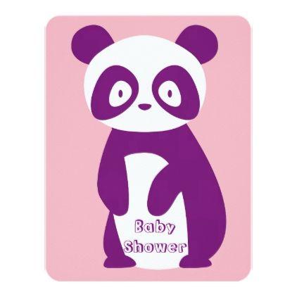 #Purple Panda Baby Shower Invitation Card - #cute #gifts #cool #giftideas #custom