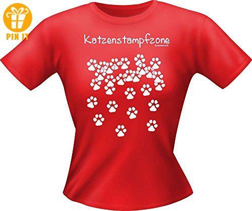Katzen Sprüche - Katzenstampfzone - Fun Lady T-Shirt 100% Baumwolle - Größe L - T-Shirts mit Spruch | Lustige und coole T-Shirts | Funny T-Shirts (*Partner-Link)