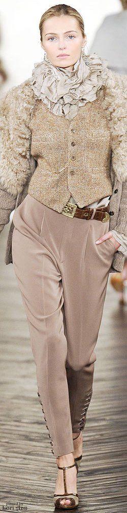 Ralph Lauren ~ Fall Neutrals Knit Vest w Flat Front Trousers 2009
