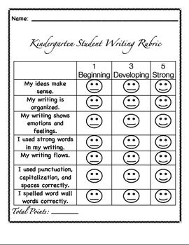 writing rubric for kindergarten