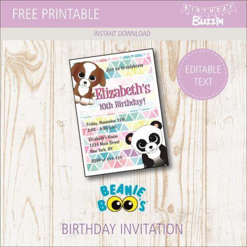 Free Printable Beanie Boo Birthday Party Invitations