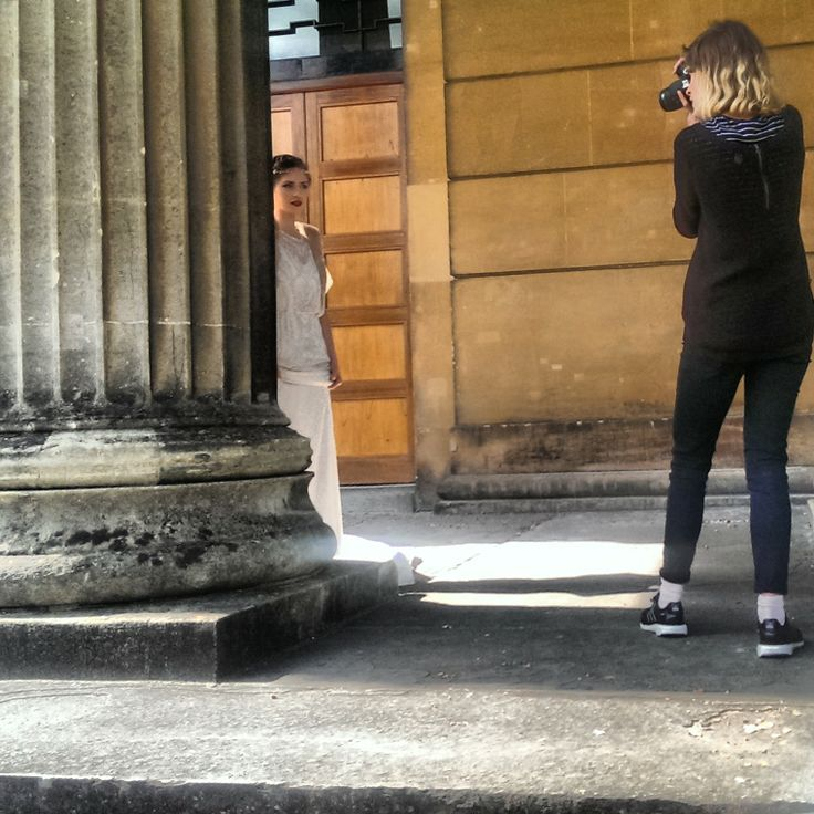 Dress by Jenny Packham - Esme.   Behind the scenes at the Blanche in the Brambles bridal faux fur photoshoot.
