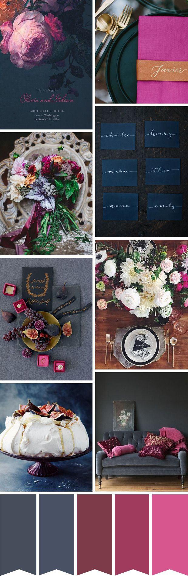 A Chic Charcoal, Navy and Fuschia Wedding Colour Palette | www.onefabday.com