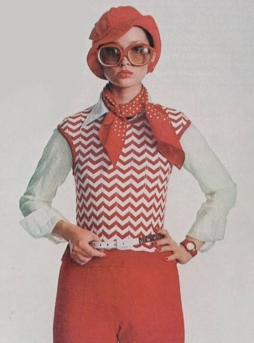 Photo by Irving Penn, 1972, chevron vest.  I wore sweater vests over blouses like this.