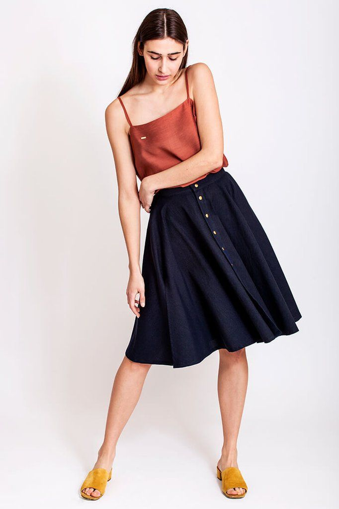 Black or navy skirt by Dott. Are you going out with friends and are you not entirely sure whether it's a casual thing or maybe it could turn into a girls-night out and then a casual look might not be good enough? No worries, Dott. has you covered. With a skirt like this you can style it for a night out on town or a quiet get together with the girls. To complete the Dott. look you could wear the skirt with the Dott. top.    €115.00 REPIN TO YOUR OWN INSPIRATION BOARD