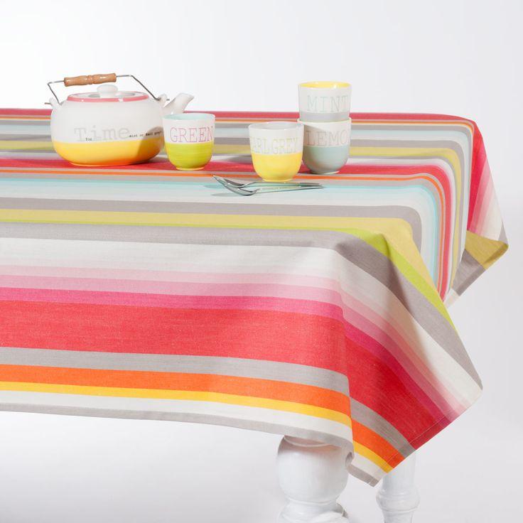 Nappe enduite rayée en coton multicolore 150 x 250 cm ICY