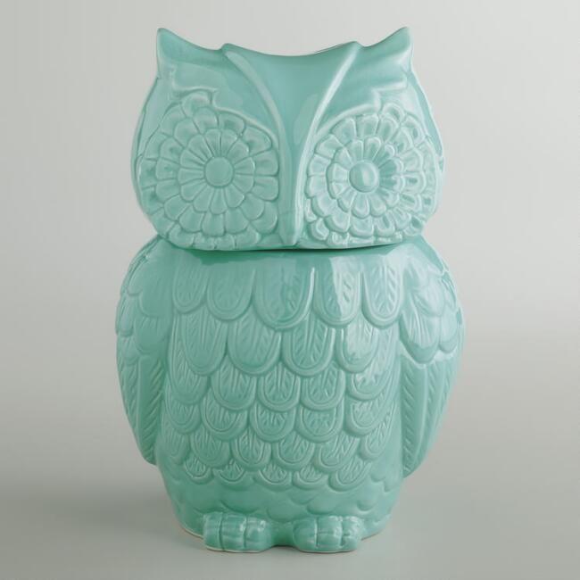 Aqua Owl Cookie Jar - v1