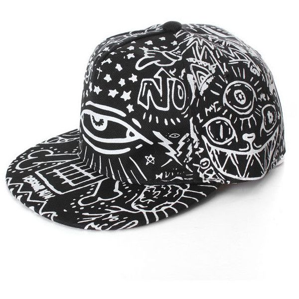Men Women Hip-Hop Baseball Flat Bill Hat Graffiti Hippie Snapback... ($5.91) ❤ liked on Polyvore featuring men's fashion, men's accessories, men's hats, mens baseball hats, mens caps, mens summer caps, mens summer hats and mens snapbacks