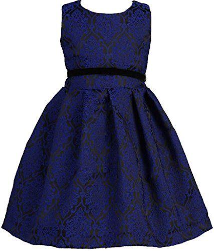 4f9f470f35 Dreamer P Little Girls Pleated Jacquard Velvet Ribbon Trim Flowers Girls  Dresses