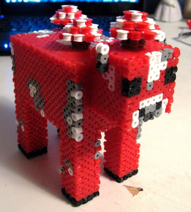 3D Minecraft Mooshroom perler beads by Pinknihon on deviantART - Pattern: http://www.pinterest.com/pin/374291419002707135/