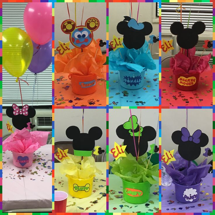 Mickey Mouse club house bucket centerpieces