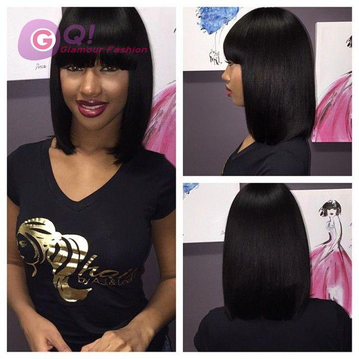 Gq 100 Virgin Brazilian Human Hair Bob Wigs With Chinese Bangs Short Lace Front