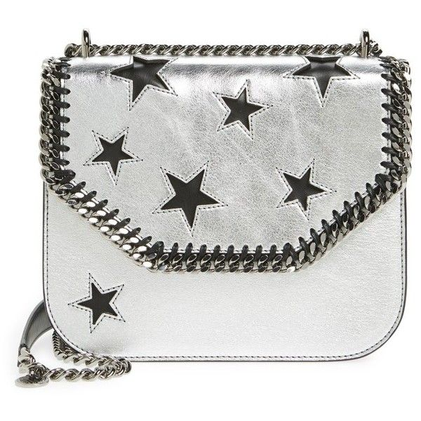 Women's Stella Mccartney Falabella Star Cutout Metallic Faux Leather... ($1,250) ❤ liked on Polyvore featuring bags, handbags, shoulder bags, silver, shoulder bag purse, vegan handbags, vegan leather purses, faux leather shoulder bag and chain shoulder bag