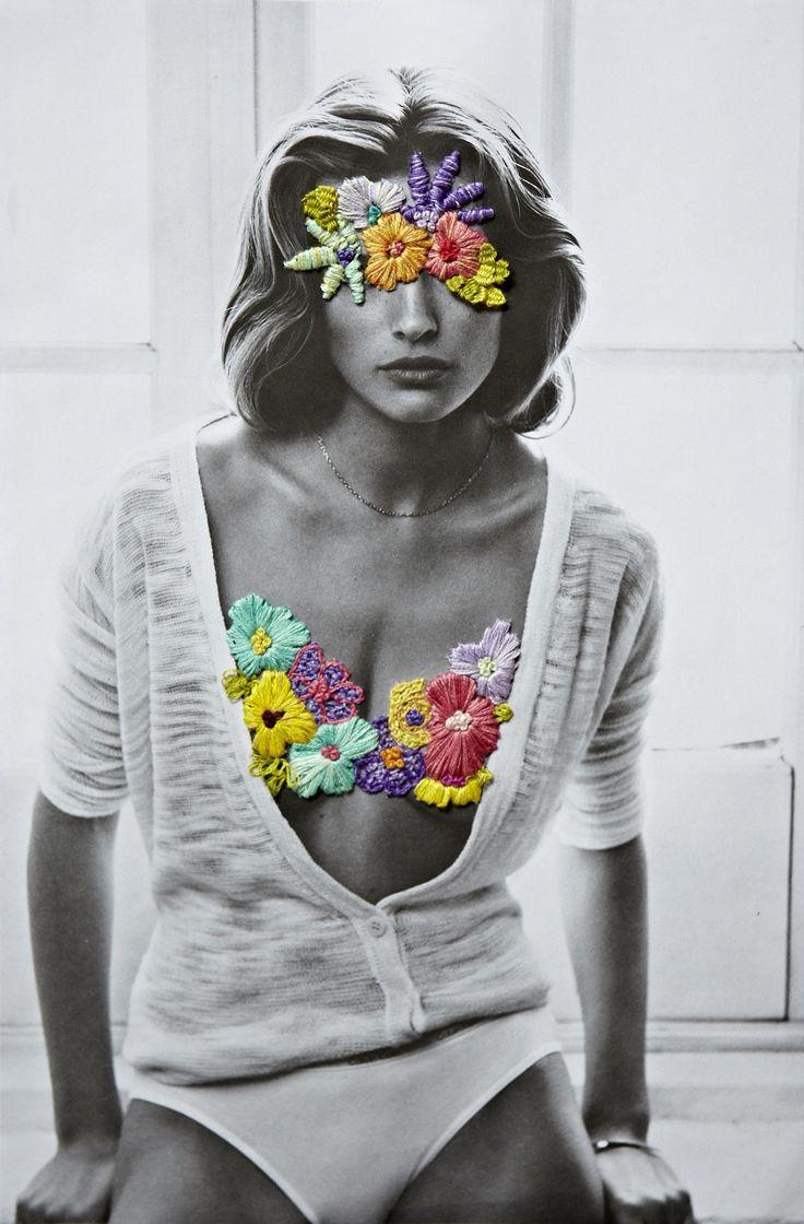 Fotografias vintage ganham bordados contemporâneos nas mãos do artista Jose…