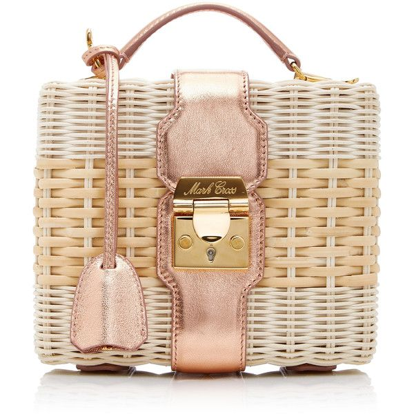 Mark Cross Harley Rattan Bag ($2,295) ❤ liked on Polyvore featuring bags, handbags, neutral, mark cross handbags, metallic handbags, metallic purse, beige purse and beige bag
