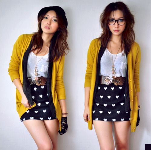 cute: Colors Cardigans, Super Cute Outfits, So Cute, Dresses, Adorable, Colors Together, Mustard Cardigans, Entir Outfits, Perfect Outfits