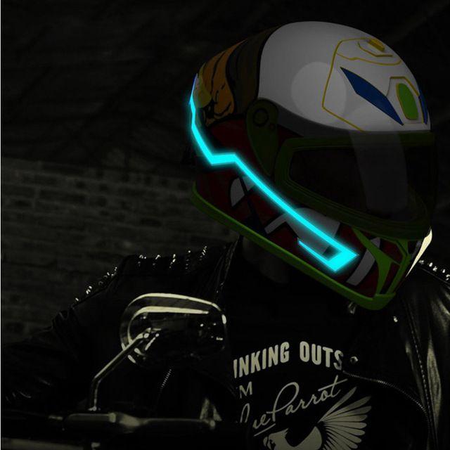 Motorcycle Modified Sticker Helmet EL Light  Luminous Strip Night Signal