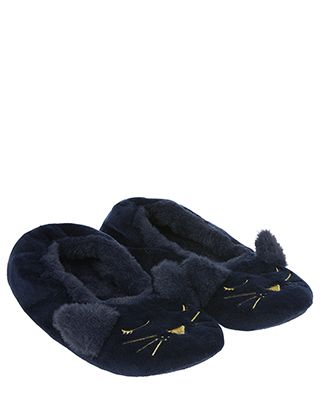 Treat your feet to purr-fect softness with our Livvie midnight cat ballerina slippers. Embroidered with metallic cat faces and topped with pointed ears, thes...