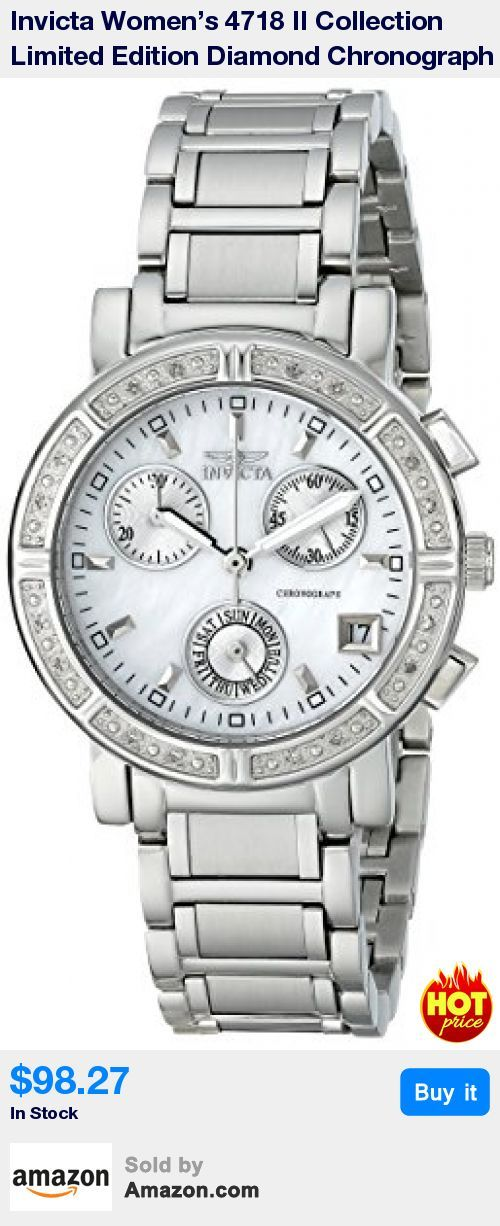 This stunning limited-edition watch from Invicta's II Collection features white diamonds set on a polished stainless steel bezel complete with an opulent mother-of-pearl dial. * Swiss Quartz movement with analog display * Protective Flame-Fusion crystal dial window * Features deployment clasp, stainless steel construction, date window, chronograph functions with three subdials * Water resistant to 330 feet (100 M): suitable for snorkeling, as well as swimming, but not diving